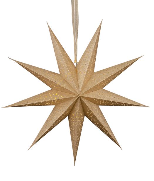 Koristetähti Gloria jossa valaistus, Pituus 60 cm, Kulta