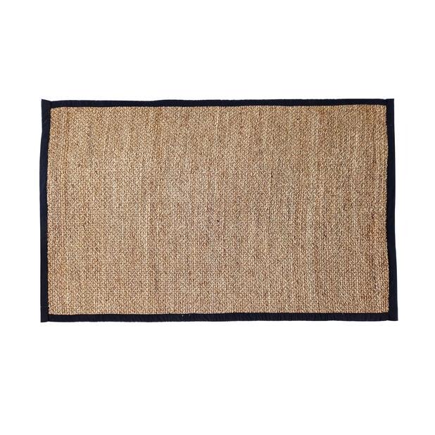 Reunustettu matto, meriheinä, Pituus 180 cm, Musta
