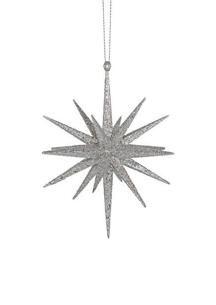 Kolmiulotteinen kuusenkoriste Hopeatähti, Korkeus 15 cm, Hopea