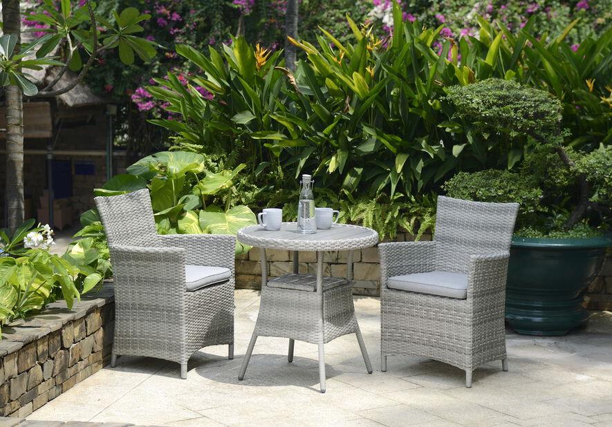 Kahvilasetti Aruba, 2 istumapaikkaa, Harmaa