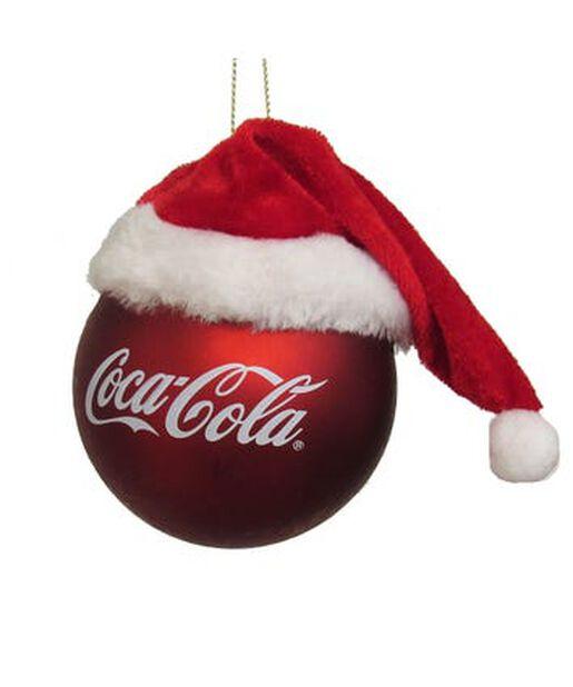 Joulupallo Coca-Cola ja tonttulakki, Korkeus 9 cm, Monivärinen