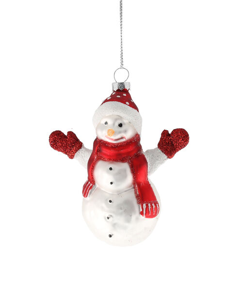 Kuusenkoriste Lumiukko, Korkeus 10 cm, Valkoinen
