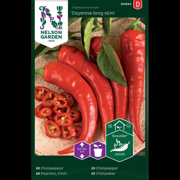 Chilipaprika 'Cayenne long slim', Monivärinen
