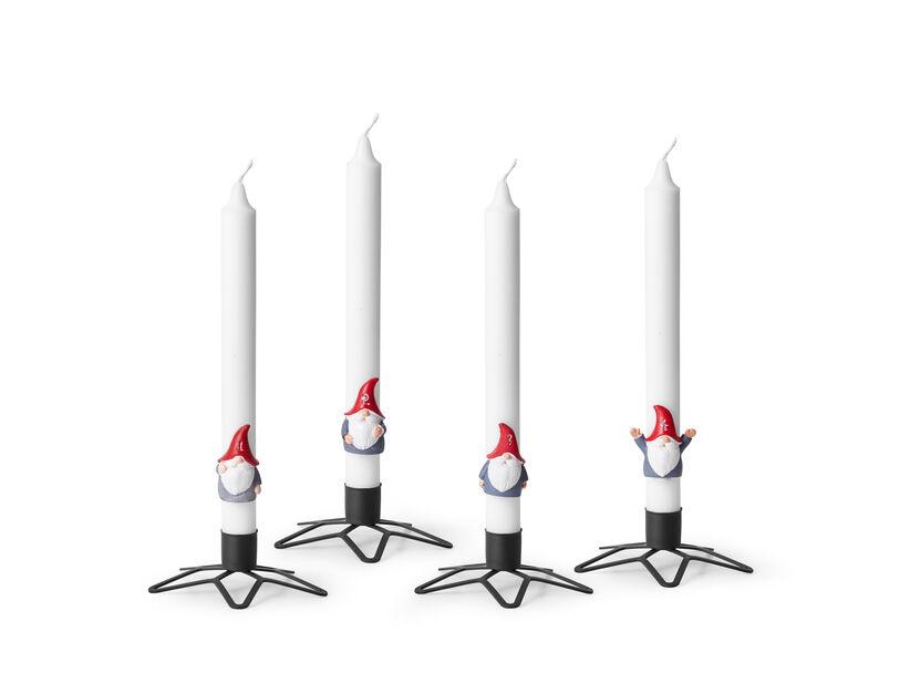Tonttu-kynttiläkoriste 4 kpl, Korkeus 5 cm, Punainen