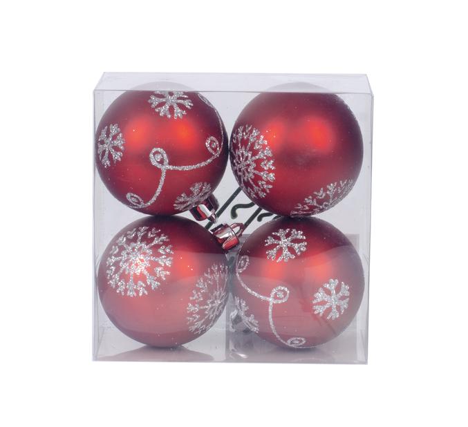 Joulupallo 4 kpl, Ø6 cm, Punainen