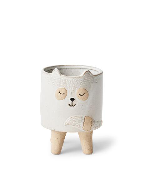 Miniruukku kissa Lovi, Ø8 cm, Valkoinen
