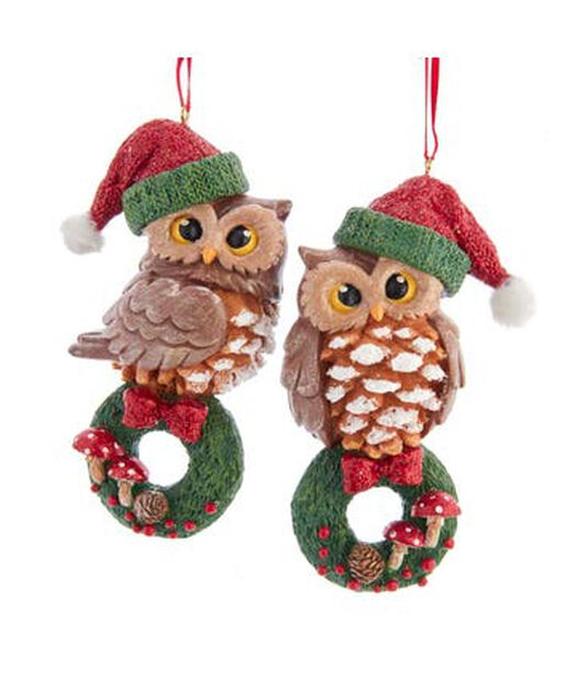 Joulukoriste pöllöt, Korkeus 11 cm, Monivärinen